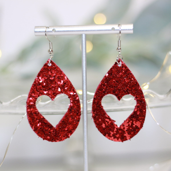 glitter heart valentine earrings