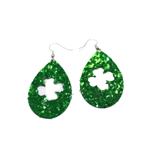 sparkly saint patricks day earrings
