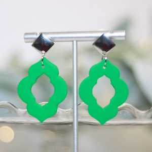 green moroccan chandelier statement earrings