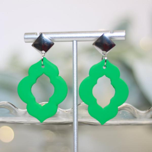 green moroccan chandelier statement earrings