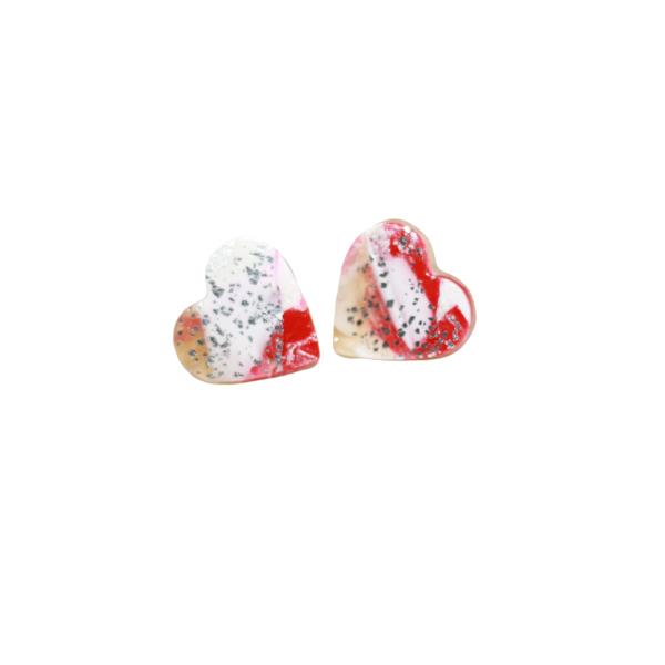 marbled heart stud earrings