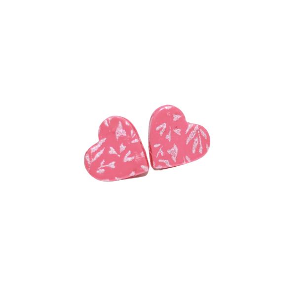 handpainted pink heart valentine earrings
