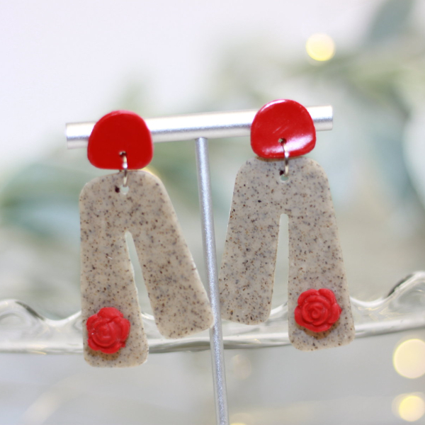 red rose valentine statement earrings lake and lark