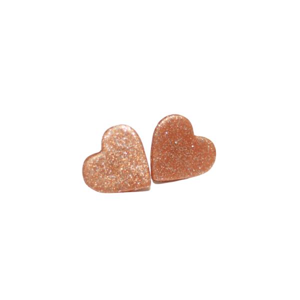 glitter rose gold heart valentine earrings