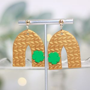 gold arch shamrock earrings