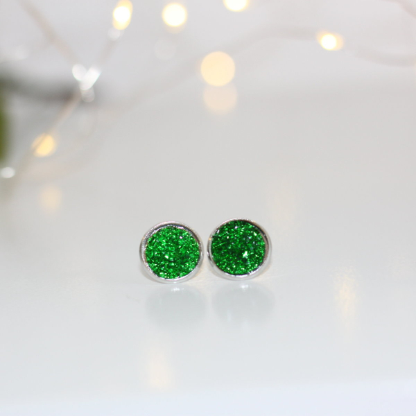 glitter green stud earrings