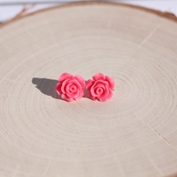hot pink rose stud earrings lake and lark
