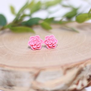 pink succulent flower stud earrings