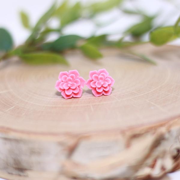 pink succulent flower stud earrings