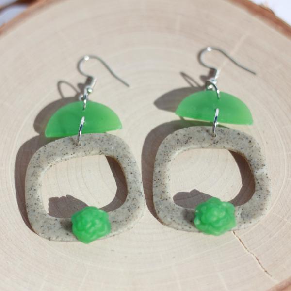 clay succulent square hoop earrings