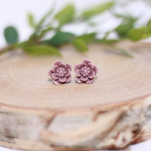 grape purple flower stud earrings