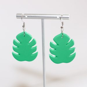 monstera plant earrings