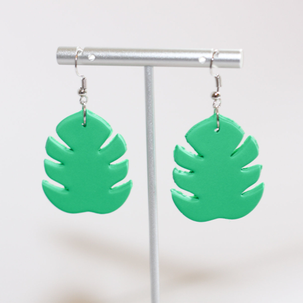 monstera plant earrings