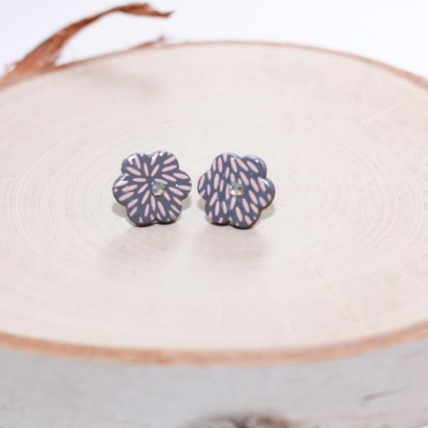 pink gray flower earrings