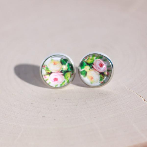 pink cream rose earrings