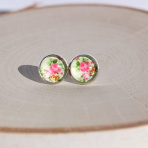 pink floral stud earrings lake lark