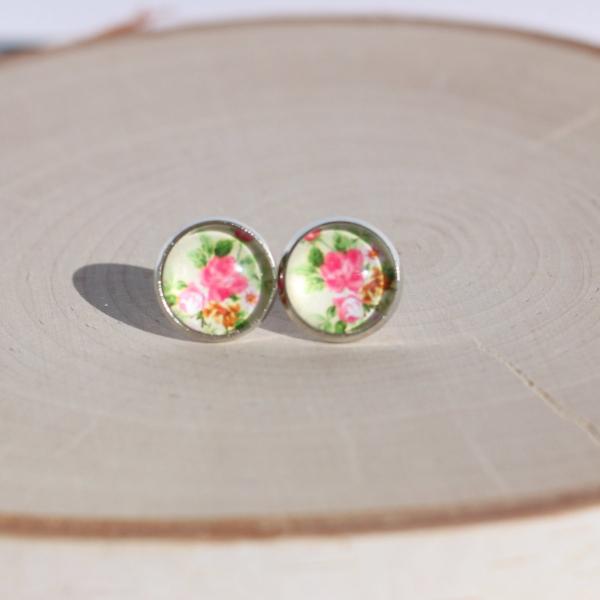 pink floral stud earrings lake lark