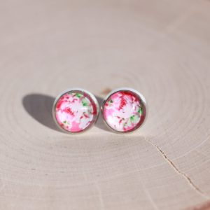 pink peony flower earrings