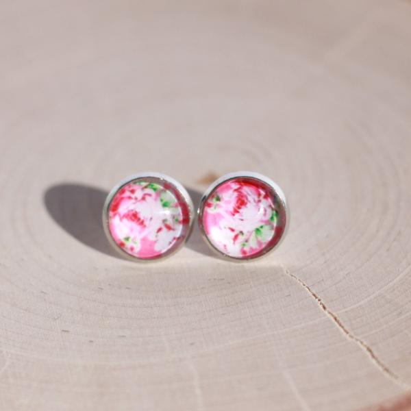 pink peony flower earrings