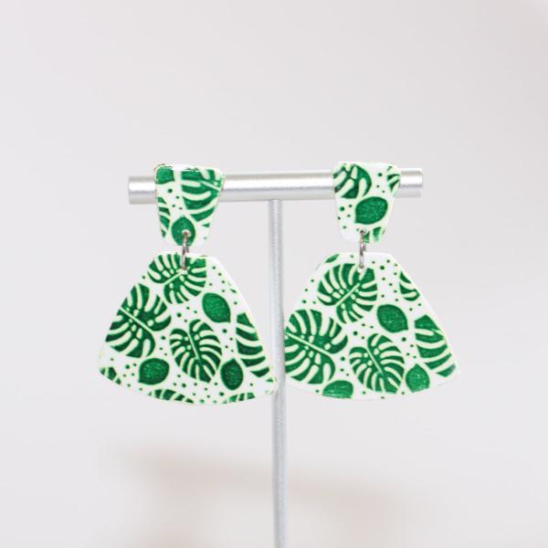 painted monstera leaf earrings