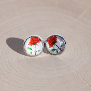 romantic red rose earrings
