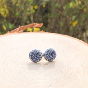 chunky gray geode stud earrings