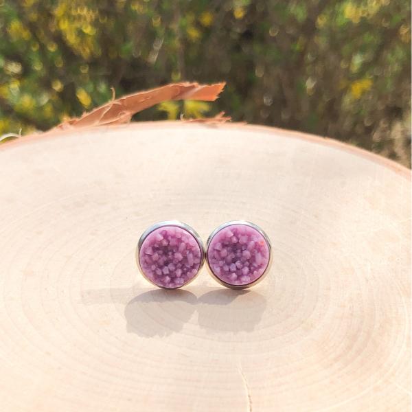pastel purple chunky stone earrings
