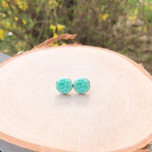 aqua sparkly stud earrings