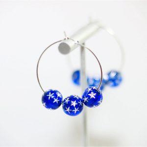patriotic usa blue star hoop earrings