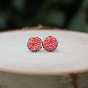 pink orange summer sparkly stud earrings