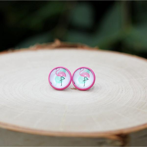pink flamingo stud earrings lake lark