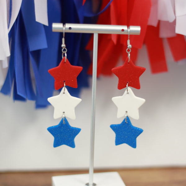 red white blue clay star earrings