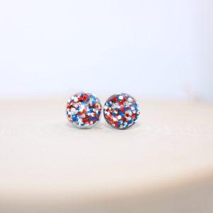 red white blue glitter stud earrings