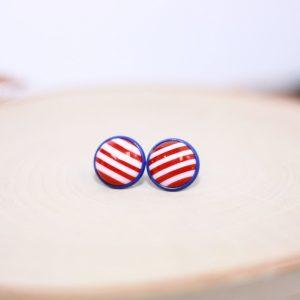 red white blue striped stud earrings
