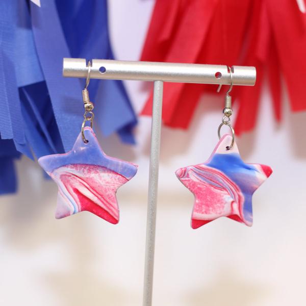 red white blue swirl art star earrings