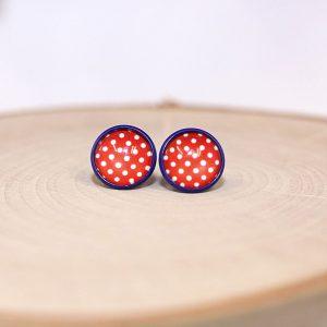 patriotic polka dot stud earrings