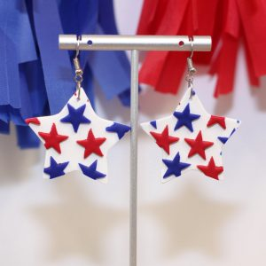 patriotic usa clay star earrings