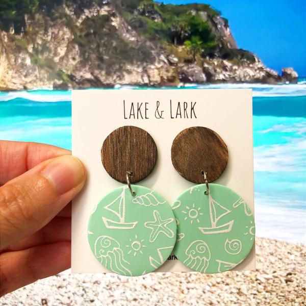 nautical beach painted clay earrings