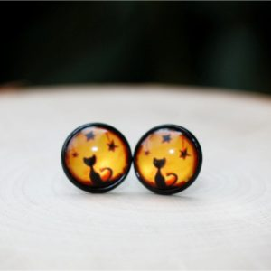 halloween black cat stud earrings
