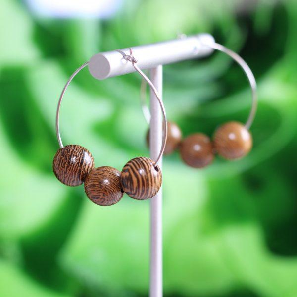 wood bead hoop earrings
