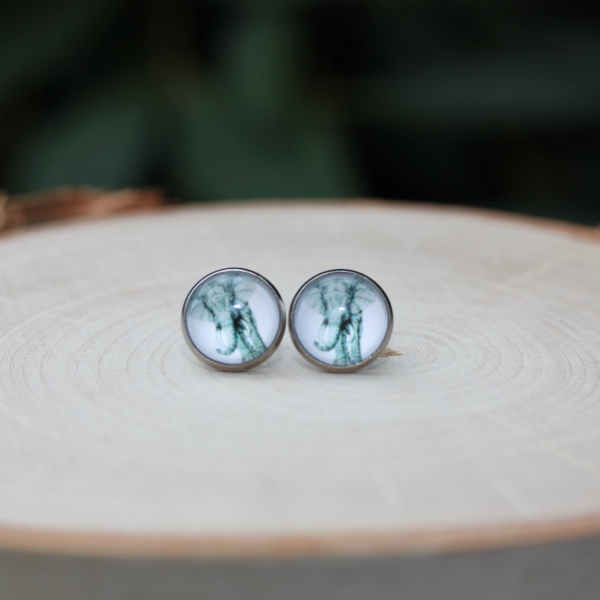 gray elephant earrings