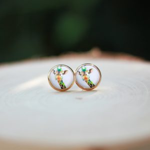 rainbow giraffe animal stud earrings