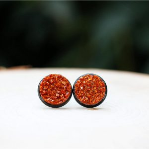 black burnt orange sparkly halloween stud earrings