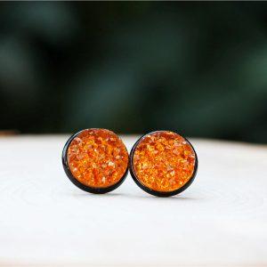 black orange sparkly halloween earrings