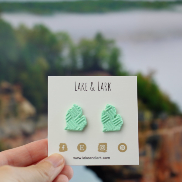 clay michigan stud earrings