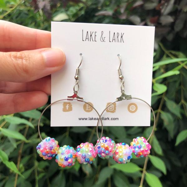shimmery bead hoop earrings