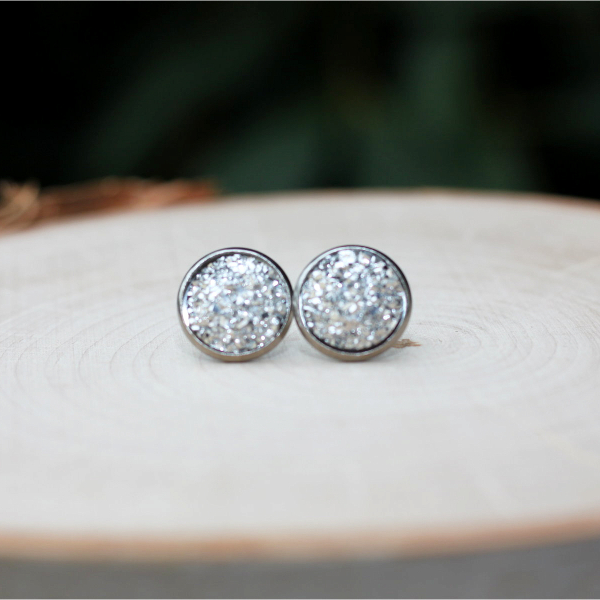 sparkly silver stud earrings