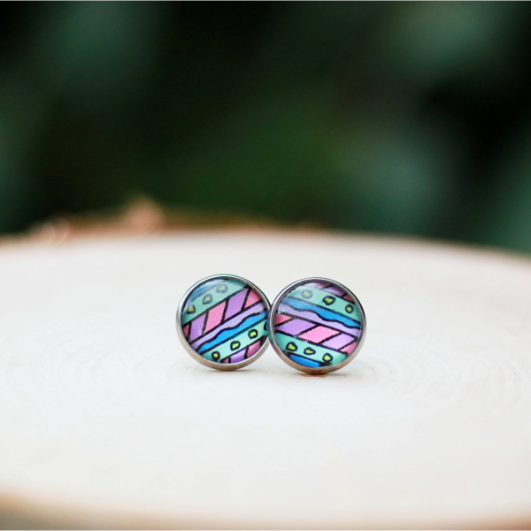 pastel rainbow glass earrings