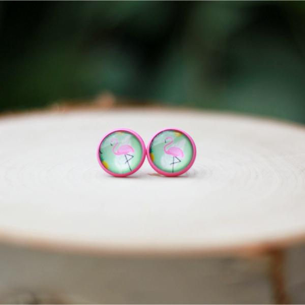 pink flamingo stud earrings