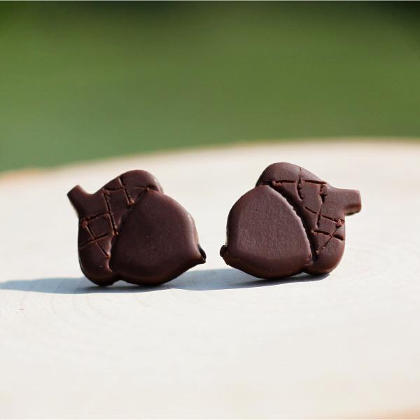 clay acorn autumn earrings
